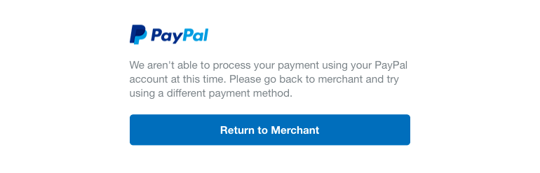 PayPal – Unable to process payment message – ThriveCart Helpdesk
