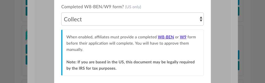 Require W9 W8 Ben Forms From Affiliates On Signup Thrivecart